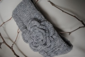 Knit Headband with Crocheted Flower