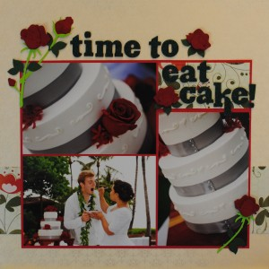 Let Us Eat Cake Wedding Scrapbook Layout