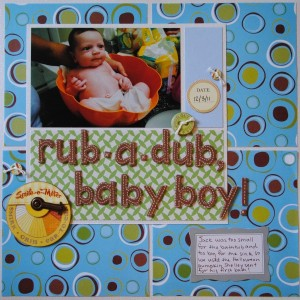 Rub a Dub Scrapbook Layout