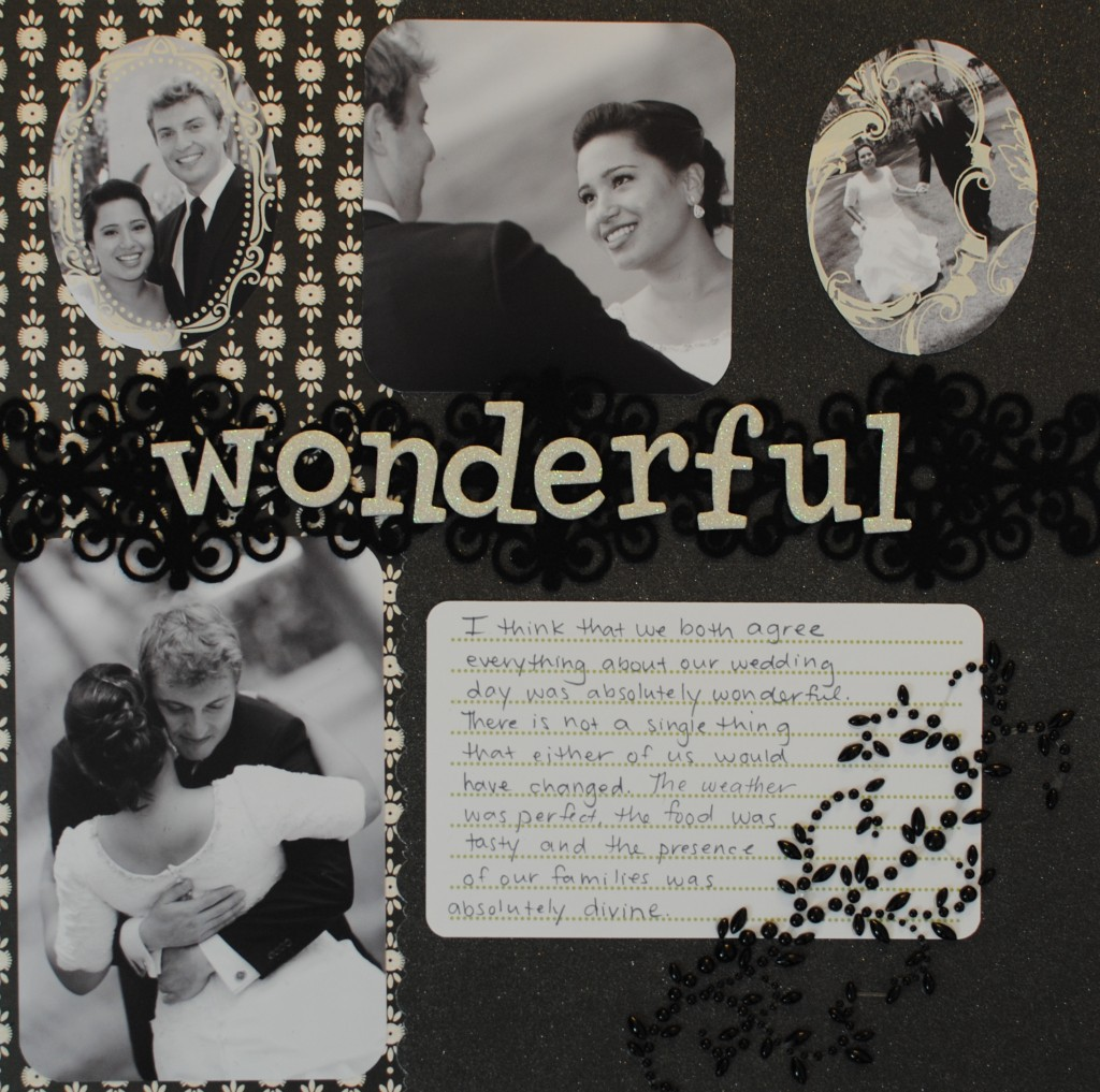 Four picture scrapbook page layout sketch